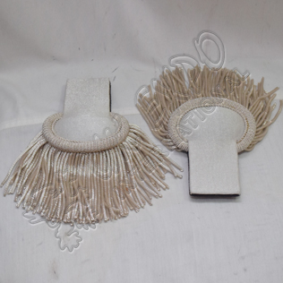 Silver Wire Hand Embroidery Epaulettes