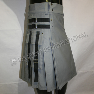 Men Sports Casual Gray PC Utility Kilt