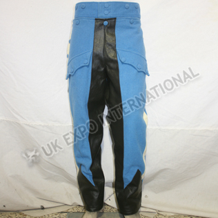 Sky Blue Color Riding breeches hussar Trouser with Black Leather inseam