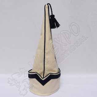 Spanish sleeve Cap Cream with Dark Blue Wool Tassel Blazer material