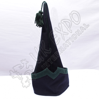Spanish sleeve Cap Dark Blue with Green Wool