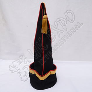 Spanish Sleeve Gold Bullion Braid Cap Black Blazer with Red Wool Piping