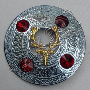 Stage Celtic Horse Kilt Plaid Brooch