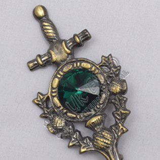 Thislte Sword With Green Stone Brass Antique Kilt Pin