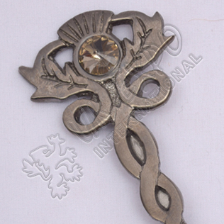 Thistle With Stone Shiny Antique Kilt Pin
