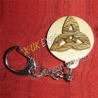 Trinity Knot Wooden Key Chain