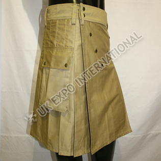Vee Worker Men Utility Sports Casual Pocket Kilt Khaki Color