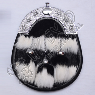 White and Black rabbit fur with 3 tessels matching