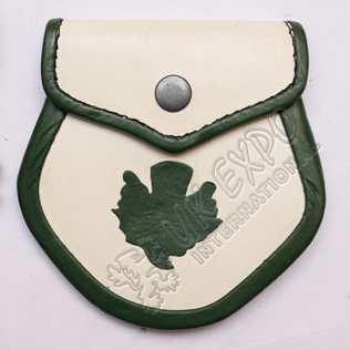 White and Green Leather with thistle Baby Sporran