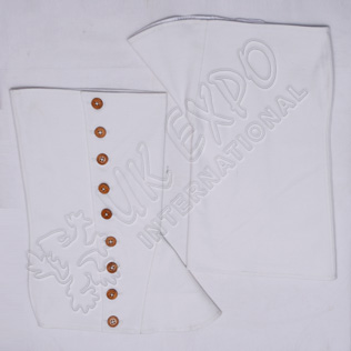 White Color Cotton Spats With Wooden Buttons