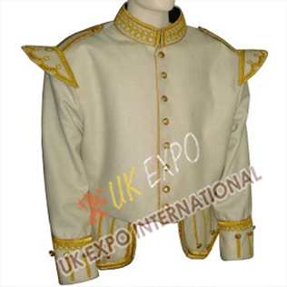 White color Doublet with Golden Embroidery and Braid cord