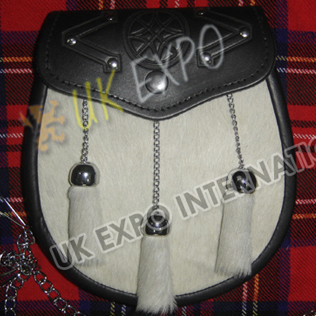 White Color Goat Skin Celtic emboosed on Flap with Studs