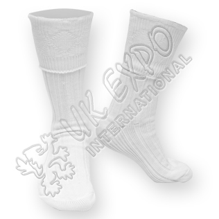 Rhombus Cuff White Color Kilt Woolen Socks