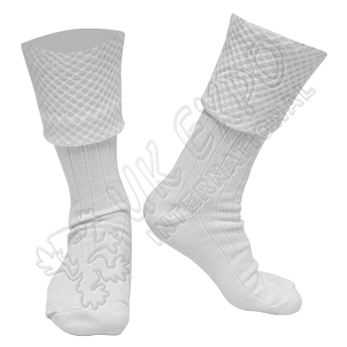 Diamond Cuff Men White Scottish Highland Wear Kilt Hose Socks