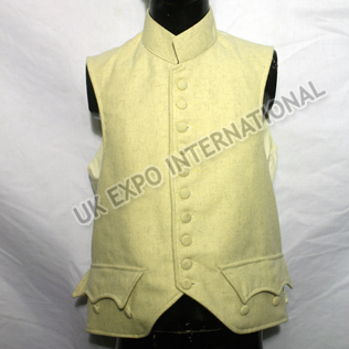White Color Vest With Fabric Button Cotton inside