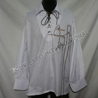 White color with black leather Lace Jacobite shirt