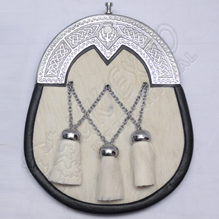 White Goat skin cross tessels Diamond shape cantle