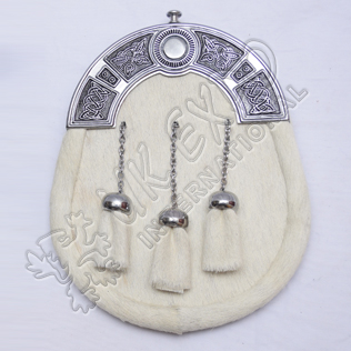White Goat Skin Sporran With Celtic Design Cantle black Color Filing