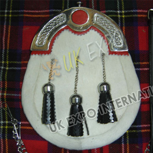 white Goat sking with celtic Cantle with Red Backing