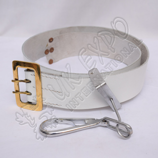 White Leather Drummer Belt Brass Buckles
