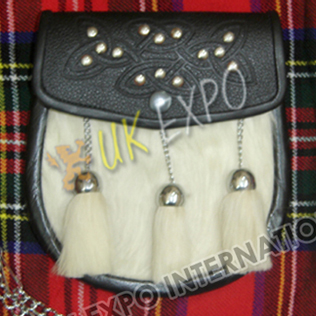 White Long Hair Goat Skin Celtic Embossed on Flap with Studs