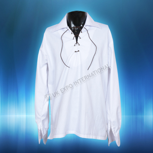 White Mens Scottish Highland Jacobite Shirts Jacobean Ghillie