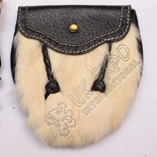 White rabbic fur with 2 tessel hand made Popup Pin Lock for children