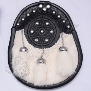 White Rabbit fur 3 tessels and stud on front leather Sporran
