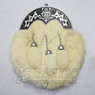 White Rabbit Fur Full Dress Sporrans Scottish Flower Black Color Filled Cantle