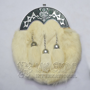 White Rabbit Fur Full Dress Sporrans Scottish Flower Green Color Filled Cantle