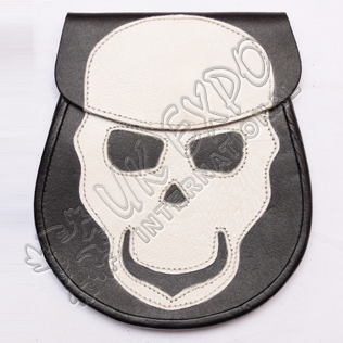 White Skull Backing Black Leather Fashion Sporrans