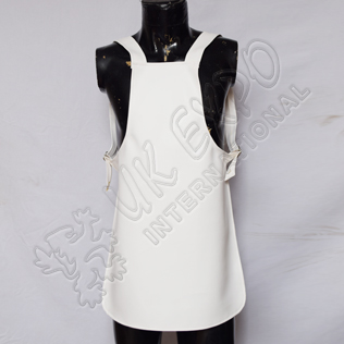 White Split Leather Apron for Pipe Band with adjustable buckles
