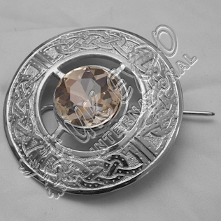 White Stone Celtic Design Brooch