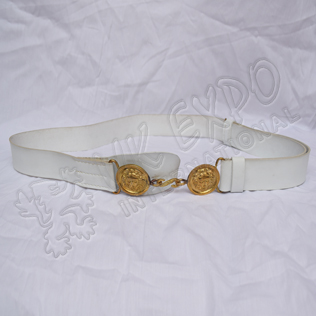 White sword belt with brass moon shape buckle with snake hook