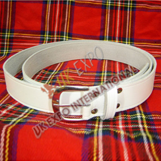 White Waist Belt Round Buckle 1.5 inches wide
