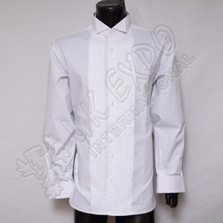 White Wing Collar Evening Dress Shirt with Pleat Front