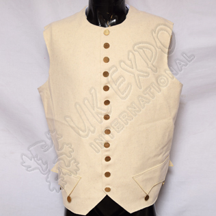 white wool vest with brass buttons