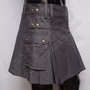 Women Utility Kilt Gray Color four straps Brass metal parts