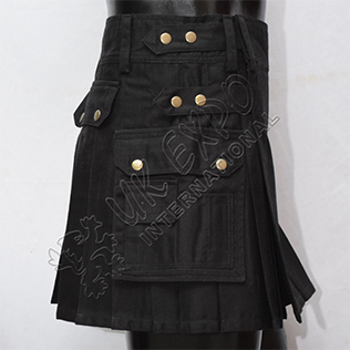 Womens Utility Kilt Black four straps Brass metal parts