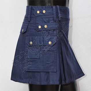 Womens Utility Kilt Dakr Blue four straps antique metal parts