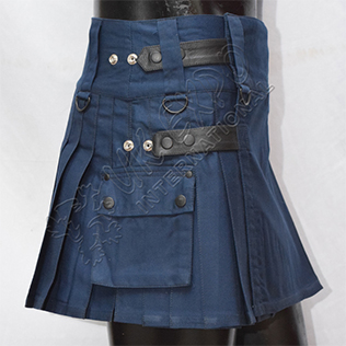 Womens Utility Kilt navy New four leather straps