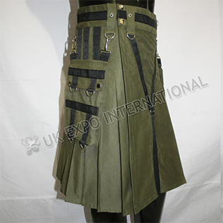 Y Style Darker Olive Heavy Canvas Utility Sports Casual Pocket Kilt