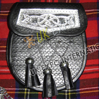 Zig Zag Black Real Leather Sporran celtic cantle on Flap