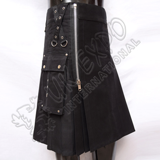 Gothic Zipper Black Utility Kilt With Heavy Cotton